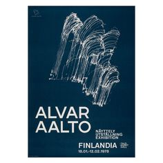 Poster for the Alvar Aalto memorial exhibition at Finlandia Hall, Helsinki, in The illustration shows the wooden relief designed for Finlandia Hall's main concert space. Chinese Architecture, Modern Architecture House, Futuristic Architecture, Modern Houses, Alvar Aalto, Blue Poster, Kunst Poster, Poster Series, Helsinki