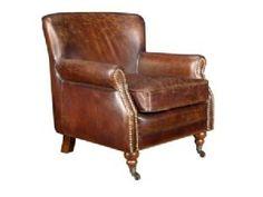 Junior Vintage Leather Brass Studded Armchair