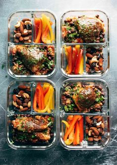 Spicy Chicken Meal Prep with rice and beans + a yummy cilantro sauce = healthy meal prep to last you all week! Meal planning that is healthy, delicious, AND beautiful! Meal Prep Bowls, Easy Meal Prep, Healthy Meal Prep, Healthy Foods To Eat, Healthy Cooking, Healthy Snacks, Easy Meals, Easy Cooking, Healthy Menu
