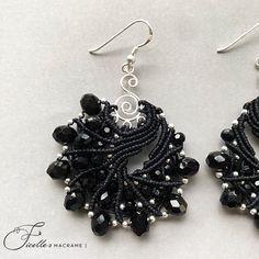 Sterling Silver earrings DIY Black Macrame earrings Large