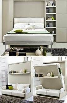 Wall Bed These wall beds feature comfortable Work Murphy Beds and Wall By day Folding Beds Create A Bed The Cama Murphy, Murphy Bed Ikea, Murphy Bed Plans, Apartment Furniture, Apartment Living, Apartment Office, Apartment Design, Apartment Projects, Apartment Interior