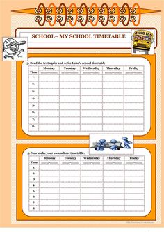 Let's read and write about . - My School Timetable worksheet - Free ESL printable worksheets made by teachers 5th Grade Worksheets, Printable Worksheets, School Timetable, School Subjects, Student Reading, English Lessons, Writing Skills, I School, Teaching English