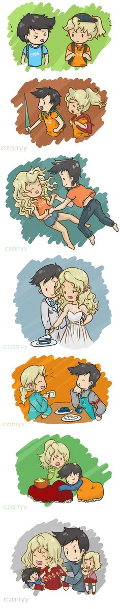 czarryy: Percabeth! … was requested by a bunch of anons! (complete with really cute prompts like the wedding and a tickle fight) and for some reason I took that as a cue to draw out their whole life together? I almost drew granparents percabeth but my shoulder is now so stiff that I have to rest (but if you wanna see that….)
