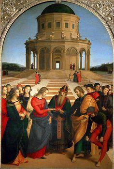 Raffaello Sanzio, Raphael,  - Sposalizio della Vergine, 1504, olio su tavola, 170x118 cm, Milano, Pinacoteca di Brera.