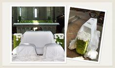 Addobbo Chiesa Stile Moderno: bianco e verde mela #addobbi #fiorichiesa #ortensia #matrimoniobianco #matrimonioverde #fioriroma