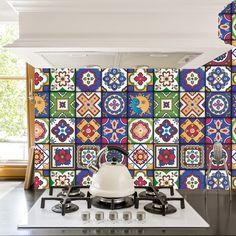 Lieblich Mexikanische Fliesen Sticker   Set Mit 16 Fliesen   Fliesen Aufkleber Kunst  Für Wände Küche Backsplash Bad