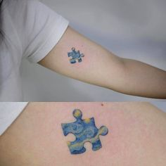 What does puzzle piece tattoo mean? We have puzzle piece tattoo ideas, designs, symbolism and we explain the meaning behind the tattoo. Mini Tattoos, Little Tattoos, Love Tattoos, Beautiful Tattoos, Body Art Tattoos, Small Tattoos, Tatoos, Tattoo Ink, Van Gogh Tattoo