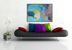 Abstract Large Painting Modern Artwork Turquoise Blue Grey White Yellow Colorful Art Contemporary Wall Decor Expressionist 100 x 70 cm by AjdinovicStudio on Etsy