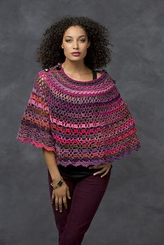 Ravelry: Dubonnet Poncho pattern by Bonnie Barker--link to free pattern