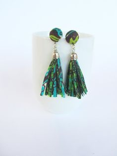 SALE NOW African earrings/ tassel earrings/ long fabric earrings /fringe earrings Fabric Earrings, Long Tassel Earrings, Fringe Earrings, Beaded Earrings, African Earrings, African Jewelry, Textile Jewelry, Fabric Jewelry, Jewelry Crafts