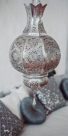 Moroccan perforated chandelier.