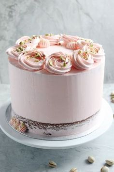 White chocolate mud cake with pistachio filling and rosewater buttercream