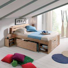 Lit 2 personnes t te de lit 2 tiroirs de rangement rauch - Lit 1 place avec rangement ...