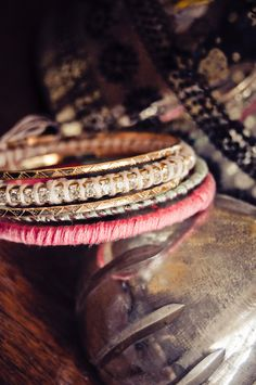 Rhinestone Bangle Set (Gold, Coral, Mint, Pink). $15.00, via Etsy.