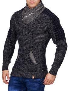 K&D Men Stylish Turtle Zip Neck Ridges Sweater - Navy Blue