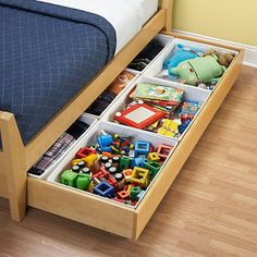 Bins that fit inside trundle bed to organize toys -- great for a small room. // NEED these for L's trundle bed! Kids Closet Storage, Kids Beds With Storage, Kids Storage Bins, Kid Closet, Under Bed Storage, Toy Storage, Storage Ideas, Bedroom Storage, Storage Design