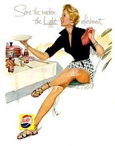 """Serve The Modern, The Light Refreshment"" 1956 Pepsi ad. Fab 50s summer style."
