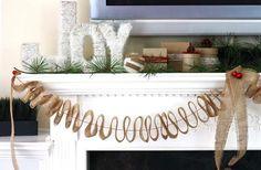A beautiful burlap holiday mantel by @KD Eustaquio {The Celebration Shoppe}