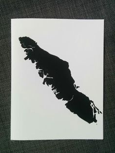 This hand pulled block print features the silhouette of beautiful Vancouver Island, British Columbia. The island is the largest on Canadas west coast and home to rugged coastlines and old-growth forests. This print is perfect as a souvenir of a Canadian adventure or as a reminder of home for locals and far away loved ones. The print is available as a blank greeting card with envelope or printed on a paper map (in a separate listing). Please be aware that these cards are stamped by hand… West Coast Tattoo, Far Away Love, Island Tattoo, Wolf Tattoo Sleeve, Island Map, Painted Wood Signs, Travel Wall, Pretty Tattoos, Vancouver Island