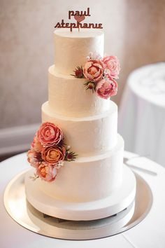 - Rustic buttercream cake with pink peonies, mini leucadendron and stephanotis for Stephanie and Paul's beautiful spring wedding at the Estates of Sunnybrook. Topper was custom made by a vendor on Etsy and provided by the bride. Photo by JFHannigan Photography.