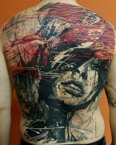 Amazing full back tattoo, looks like it belongs on a wall in a gallery.