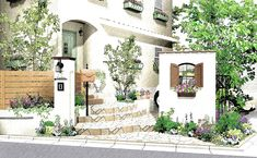 House Front, My House, Garden Doors, Exterior Design, Watercolor Paintings, Gate, Diy And Crafts, Backyard, House Design