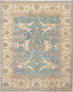 Hand-knotted Royal Ushak Slate Blue Wool Rug