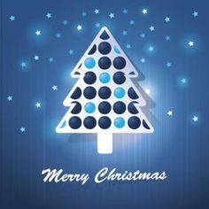 Free vector illustration of bubble Christmas tree with star pattern on blue…