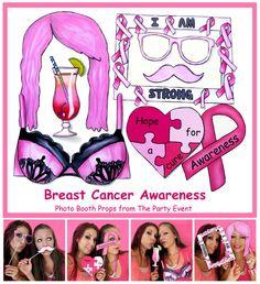 Breast Cancer Awareness Photo Booth Props - printable or ready made Photo Booth Frame, Photo Booth Props, Photobooth Props Printable, Pink Wig, Baby Girl Photos, Black Bra, Awareness Ribbons, Girls Night Out, Breast Cancer Awareness