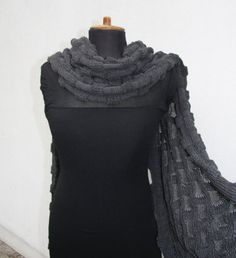 Merino Wrap Charcoal Shawl Chale Chess Check by deliriumkredens