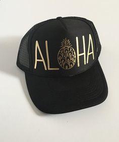 Aloha Trucker Hat| Aloha Hat| Hawaii Hat|Pineapple Hat| Black-Gold Vinyl Print