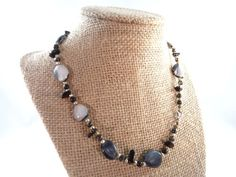 Black and White Stone Necklace Natural Stone by RusticWayTreasures