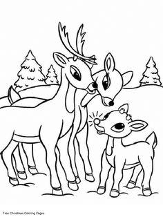 Rudolph Christmas Coloring Pages   Free Santa Coloring Pages : Printable Rudolph Family Coloring Pages