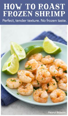 How to roast frozen shrimp with a perfect tender texture. No frozen taste or soggy watery sauce. This is the perfect busy night recipe. Frozen Cooked Shrimp, Frozen Shrimp Recipes, Cooked Shrimp Recipes, Seafood Recipes, Roasted Shrimp, Baked Shrimp, How To Cook Shrimp, Easy Salads, Healthy Recipes