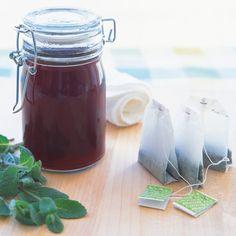 Sunburn Solution via Martha Stewart using fresh mint leaves and four tea bags