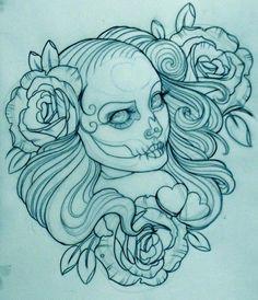 Tattoo Artwork by Emily Rose Murray Emily Rose, Tattoo Sketches, Tattoo Drawings, Tattoo Ink, Arm Tattoo, Sugar Skull Art, Sugar Skulls, Neo Traditional Tattoo, American Traditional