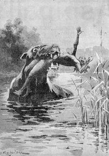 El bunyip, o kianpraty, es una gran criatura mítica de la mitología aborigen, al acecho en pantanos,arroyos, cauces y pozos de agua en Australia
