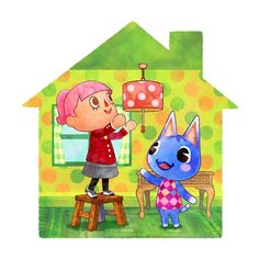 Female Villager and Bouquet - Animal Crossing: Happy Home Designer