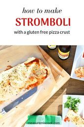 Stromboli made with gluten free pizza crust filled with cheese, pepperoni, ham a...