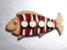 Adventní svícen - Kapřík: Fish Wall Art, Fish Art, Ceramic Pottery, Ceramic Art, Pottery Animals, Ceramic Candle Holders, Ceramic Light, Clay Faces, Hand Built Pottery