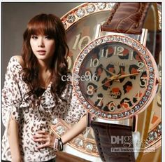 Wholesale - Stylish High Quality Fashion Leopard Lady 2012 Newest Style Leather Strap Colorful 10pc/lot WA449