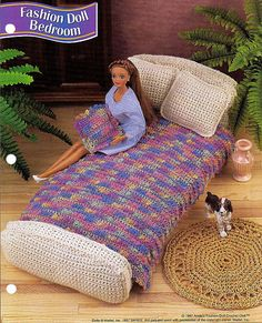 Fashion Doll Bedroom  Barbie Furniture - Crochet Doll Furniture Pattern. $5.00, via Etsy.