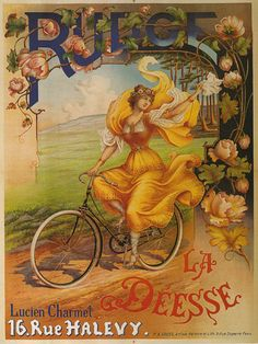 BICYCLE  Lady  Vintage Poster.  I hope she doesn't get her skirts caught in the chain or the wheels.