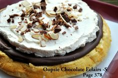 ~ S ~ Oopsie Chocolate Eclairs - DF -Use PB not cream cheese to make oopsies, - top with ccnut cream
