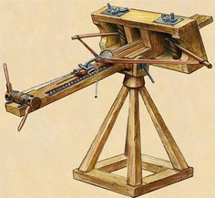 The ancient Greek Ballista first appears in historic literature in the 4th century b.c. and made very creative use of the newly invented Torsion Spring. (See siege engine mechanics for details.) The design of the ballista was such that it could be built in small to large sizes and could be configured to throw either stones or bolts.