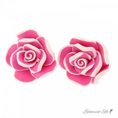 Blüten Ohrstecker ROSE XL pink  weiß  im...
