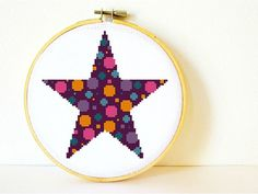 Counted Cross stitch Pattern PDF. Instant download. Psychedelic Star. Includes easy beginner instructions.