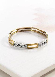 "Fusion Stretch Bracelet | Brass, Swarovski crystals, Sterling Silver.  Length: 7.75""  Material: Brass, Sterling Silver, Swarovski™"