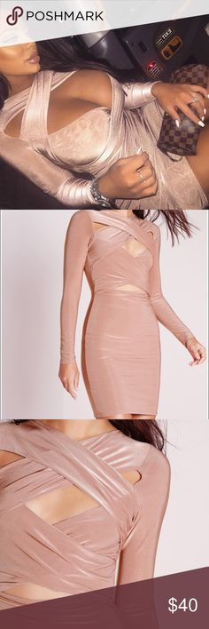 Missguided rose cross over bodycon dress - 2 Rose cut out bodycon dress in rose color. Size 2 fits like a XS. New without tags never worn. Missguided Dresses Mini