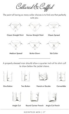 Collars & Cuffs - Kleinfeld Men > Lookbook ---- didn't realize there were choices on this! Hahaha